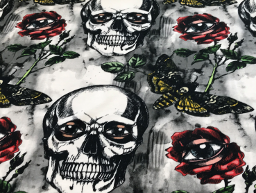 BW-Jersey Digital Skull Butterfly and Roses (Bunt)
